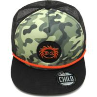Boné Child Trucker Warior Verde Preto 87924ea0418