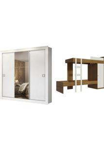 Kit Madesa Guarda-Roupa Infantil Texas Plus 3 Portas De Correr Com Espelho + Beliche Larissa