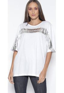 Camiseta Com Inscriã§Ãµes - Branca & Prateada - Lanã§A Lanã§A Perfume