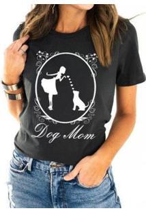 Camiseta Dog Mom Buddies Feminina - Feminino-Chumbo
