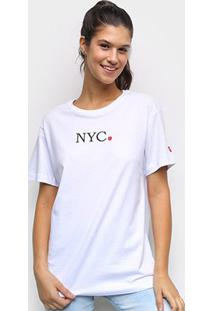 Camiseta New Era Nyc Apple Feminina - Feminino-Branco