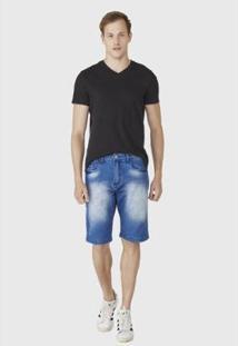 Bermuda Hno Jeans C/ Bigode E Puídos Masculina - Masculino-Azul