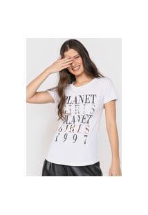 Camiseta Planet Girls Lettering Metalizado Branca
