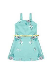 Vestido Infantil Alcinha Neoprene Verde Flores Com Cinto (4/6/8/10) - Brandili - Tamanho 10 - Verde