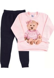 Conjunto Bebê Primeiros Passos Moletom Feminino - Feminino-Rosa