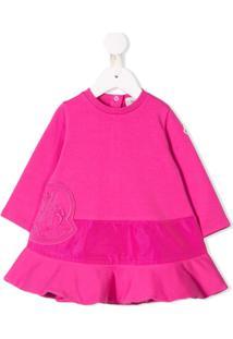 Moncler Kids Vestido Com Logo Bordado - Rosa
