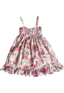 Vestido Liminha Doce Longo Floral Rosa