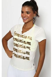 """Blusa """"Feminism"""" - Off White & Dourada - Physical Fiphysical Fitness"""