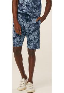 Bermuda Azul Comfort Tropical Em Moletom