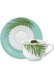Xícara Chá C/ Pires Porcelana Schmidt - Dec. Patrícia