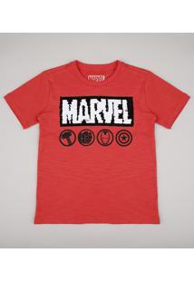 Camiseta Infantil Marvel Com Paetê Dupla Face Manga Curta Vermelha