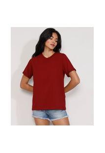 Camiseta Feminina Manga Curta Básica Ampla Decote Redondo Vermelha Escuro