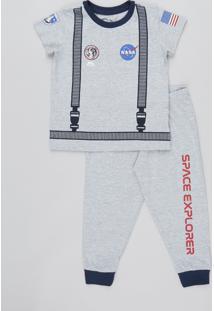 Pijama Infantil Estampa Lunar Manga Curta Cinza