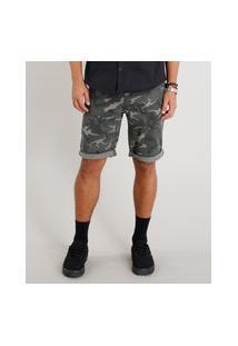 Bermuda De Sarja Masculina Slim Estampada Camuflada Verde Militar