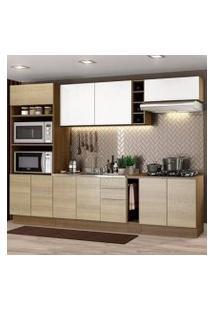 Cozinha Completa Madesa Stella 290001 Com Armário E Balcão Rustic/Saara/Branco Cor:Rustic/Saara/Branco