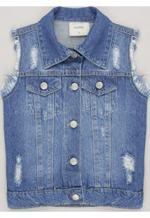 Colete Jeans Infantil Destroyed Azul Médio