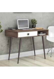Mesa Escrivaninha 1 Gaveta Retrô Rt3089 Rústico/Branco - Móvel Bento