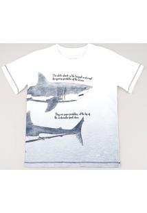 Camiseta Infantil Tubarão Com Degradê Manga Curta Off White