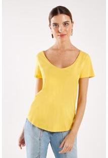 Camiseta Malha Básica Stone Sacada Feminina - Feminino-Amarelo
