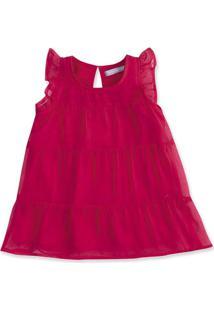 Vestido Bebê Menina Com Aplicação De Chiffon Hering Kids