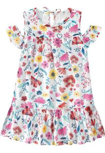 Vestido Floral Plumetis Menina Malwee Kids