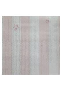 Papel De Parede Rosa E Branco Com Listras Prata