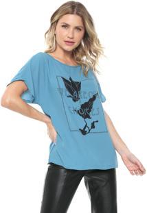 Camiseta Morena Rosa Estampada Azul