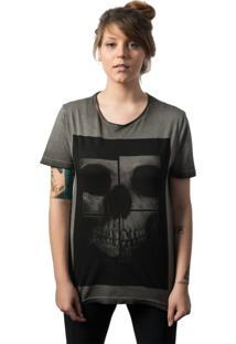 Camiseta Skull Lab Caveira Mirror Cinza