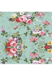 Papel Parede Floral Rosas Com Fundo Turquesa 1,50 X 60 - Branco - Dafiti