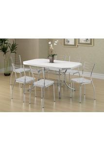 Conjunto Mesa 1507 Branca Cromada Com 6 Cadeiras 1700 Fantasia Branco Carraro