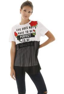 Camiseta Manga Curta Estampada E Tule Aplicado