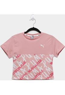 Camiseta Infantil Puma Alpha Graphics Aop Feminina - Feminino-Rosa