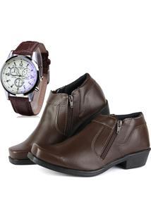 Bota Social Com Relógio Cr Shoes Com Ziper R14000M Marrom