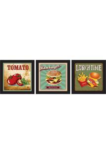 Conjunto Com 3 Quadros Decorativos Food Colorido