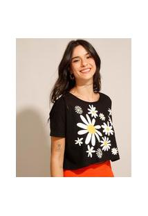 Camiseta Cropped De Algodão Margarida Manga Curta Decote Redondo Preta
