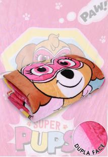 Cobertor Solteiro Lepper Patrulha Canina Menina Dupla Face Rosa 1,55 X 2,20