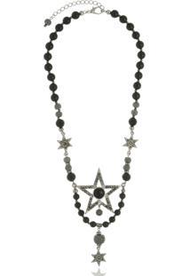 Colar Le Diamond Estrela E Cristais Prateado - Kanui
