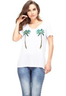 Camiseta Guess Coqueiros Feminino - Feminino-Branco