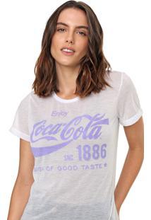 Camiseta Coca-Cola Jeans Lettering Branca - Branco - Feminino - Poliã©Ster - Dafiti