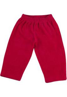 Calça Bebê De Malha Plush Cotelê - Vermelho G