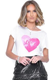 T-Shirt Poema Hit Coração Degrade Branca