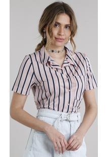 Camisa Feminina Cropped Listrada Manga Curta Rosa Claro c7225aef86