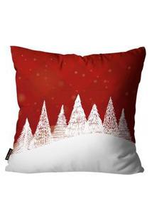 Capas Para Almofada Premium Cetim Mdecore Natal Arvore De Natal Vermelha 45X45Cm
