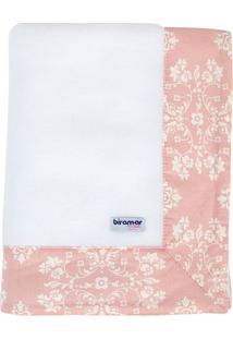 Cobertor Soft Jardim Secreto- Branco & Rosa Claro- 7Biramar
