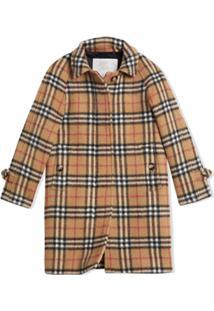 Burberry Kids Trench Coat Xadrez - Amarelo