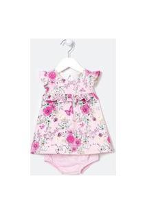 Vestido Infantil Estampa Floral Com Calcinha - Tam 0 A 18 Meses | Teddy Boom (0 A 18 Meses) | Rosa | 0-3M