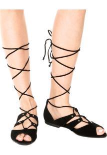 Rasteira Dafiti Shoes Gladiadora Tachas Preta