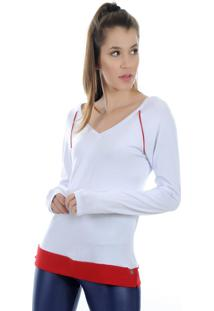 Camiseta Manga Longa Pinyx Shine Branco E Vermelho - Tricae