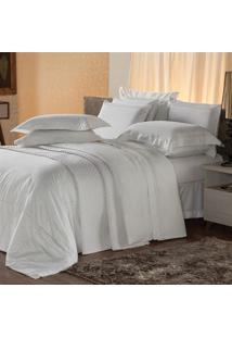 Jogo De Cama King Plumasul Premium Harmonious 4 Pçs Bordado Branco