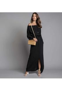 Vestido Longo Manga Longa Preto Reativo - Lez A Lez